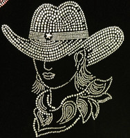 CowGirl with Hat Clear Rhinestone Transfer (Western)