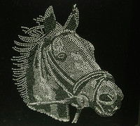 Horse Face Black & White Rhinestone Transfer Iron On