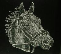 Horse Face Black & White Rhinestone Transfer Iron On