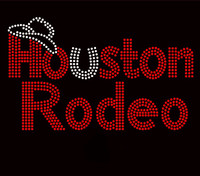 Houston Rodeo Red Rhinestone Transfer Iron On
