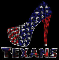 Texans Heel Stiletto Rhinestone Transfer Iron on