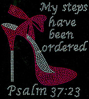 "(Fuchsia) My Steps have been ordered Heel Stiletto Psalm 37:23 Size 8.1""x 8.9"" Rhinestone Transfer"