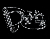 Diva (Text) Clear Rhinestone Transfer Iron on
