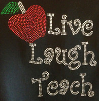 Live laugh Teach Apple School Rhinestone Transfer Iron on