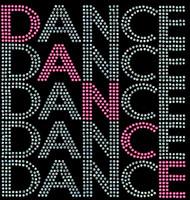 Dance 5 lines Rhinestone Transfer Iron on