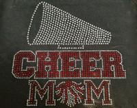 (RED) Cheer Mom under Clear Horn Megaphone Rhinestone Transfer