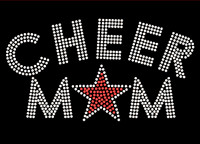 Cheer Mom Star (RED) Rhinestone Transfer