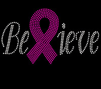 (Fuchsia) Believe Breast Cancer Ribbon Awareness Fuchsia Rhinestone Transfer