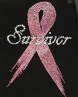 (Pink) Survivor Breast Cancer Ribbon Awareness Rhinestone Transfer