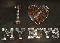 I Love My Boys Football Rhinestone Transfer Iron on