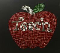 Large Apple Teach School Rhinestone Transfer
