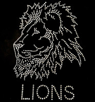 Lion Face with text Rhinestone Transfer