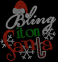 Bling It On Santa Christmas Rhinestone Transfer Iron on