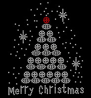 Merry Christmas White Tree Rhinestone Transfer Iron on
