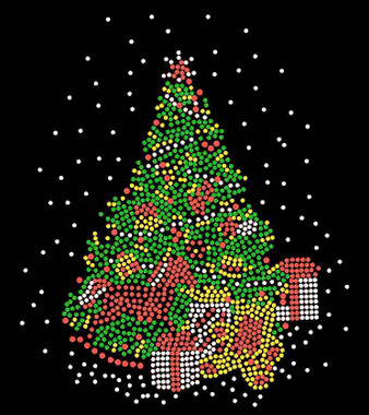 green christmas tree rhinestone transfer iron on image 1