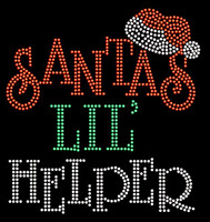 Santa Lil Helper Text Christmas Rhinestone Transfer Iron on