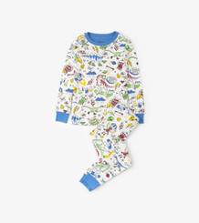 Hatley Dinos & Aliens Doodles Long Sleeve PJ Set