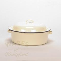 Falcon Cream Enamel Covered Round Roaster 22.5cm