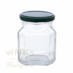 A 380ml Quadro Glass Jam Jar. Supplied with a heat sealable and vinegar proof lid in a choice of 7 different colours.