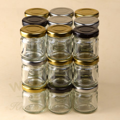 41ml mini jam jars with a heat sealable lid in a choice of 3 different colours. Perfect for wedding favours.