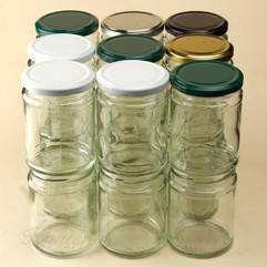 300ml Deluxe Jam Jars or Food Jars in quality, heavyweight glass. Supplied with a heat sealable lid in 5 different colours.