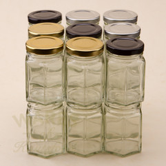 110ml Hexagonal Jam Jars - bargain pack (192 including lids)