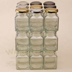 A 200ml Square Glass Jam Jar. Supplied with a heat sealable and vinegar proof lid in a choice of 3 different colours.