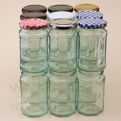 A 280ml faceted, vintage-looking  octagonal glass jam jar. Supplied with a heat sealable and vinegar proof lid in a choice of 7 different colours.