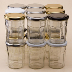 A 324ml Bonne Maman  Glass Jam Jar. Supplied with a lid in a choice of 4 different colours.