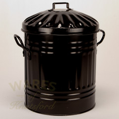 Galvanised Metal Painted Mini Dustbin in Black