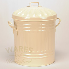 Galvanised Metal Painted Mini Dustbin in Cream