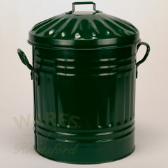 Galvanised Metal Painted Mini Dustbin in Green