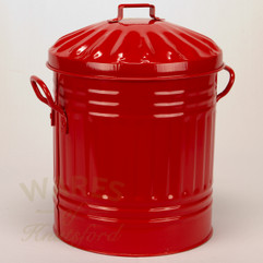 Galvanised Metal Painted Mini Dustbin in Red