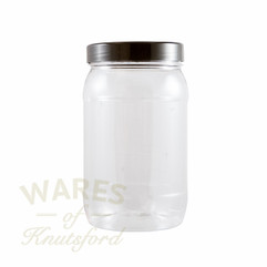 A 2117 ml Round Plastic PET Jar with a choice of 7 different lids.