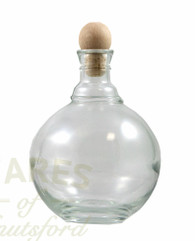 A 500ml Bubble Glass Bottle with Cork.  The cork is a wooden topped ball.