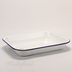37cm White with Blue Rim Falcon Enamel Bake Pan