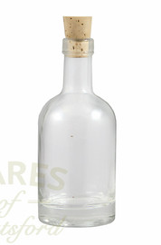 A 100ml heavyweight  glass bottle with cork. The bottle has a round base and is supplied with a tapered cork.