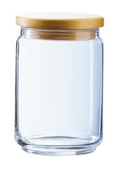 1 Litre Clear Glass Storage Jar with Wooden Lid