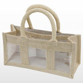 Jute Bag with Three Display Windows - Extra Small