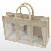 Jute Bag with Three Display Windows - Small