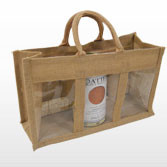 Jute Bag with Three Display Windows - Tall