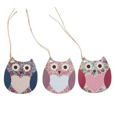 Floral Vintage Owl Tags Set of 15