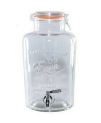 A 2 gallon ( 9 Litres)  Drinks Dispenser in Clear Glass. The dispenser is barrel shaped with a tap.