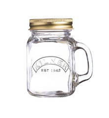 Kilner Drinking Jar. This drinking jar with handles has a 140ml capacity. Supplied with a screw top lid.   What a perfect little wedding favour present when filled with liqueur or even jam or chutney.