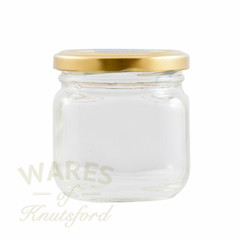 207ml clear square vintage style glass jam jars. Supplied with a heat sealable and vinegar proof lid in a choice of 2 different colours.