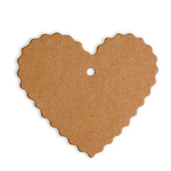 Heart Shaped Brown Tags with Scallop Edging (Pack of 10)