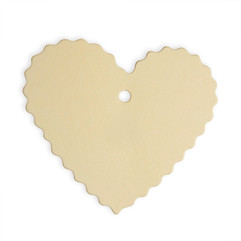 Heart Shaped Ivory Tags with Scallop Edging (Pack of 10)