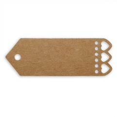 Mini Brown Gift Tags with Heart Edging (Pack of 10)