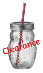 CLEARANCE:  50% OFF 400ml Drinking Jar - Owl Design (sold singly or packs 3/6)