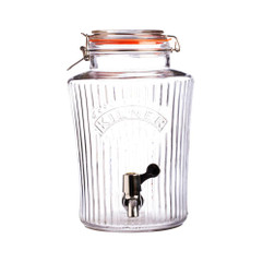 8 Litre Kilner Vintage  Style Drinks Dispenser in clear glass.